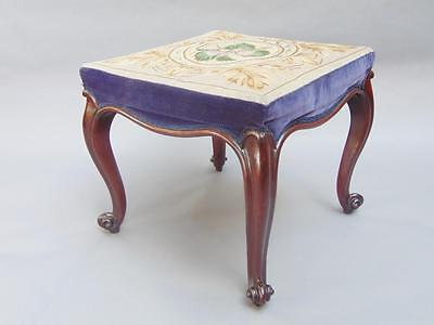 Large Victorian Mahogany & Needlepoint Stool