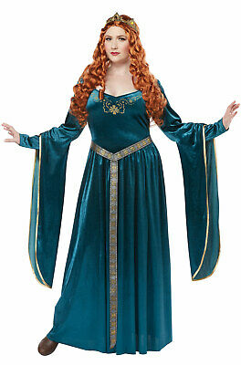 Brand New Renaissance Lady Guinevere Plus Size Costume (Teal)