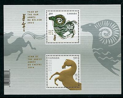 Weeda Canada 2802a VF NH Lunar Year of the Horse/Ram Transitional S/S of 2