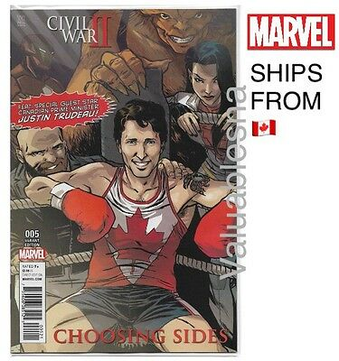 RARE PM Justin Trudeau 1st Print*Variant cover *MARVEL Comic Civil War II #5|NM