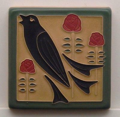 4x4 Arts & Crafts Songbird Tile in Jade by Arts & Craftsman Tileworks E831