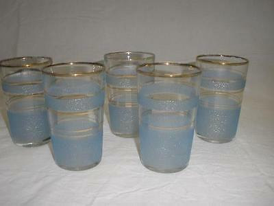 Retro Bohemia Colored Art Glasses X 5 Czechoslovakia