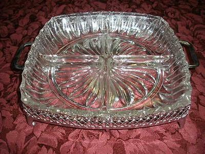 Retro Divided Glass Dish With Silverplated Holder