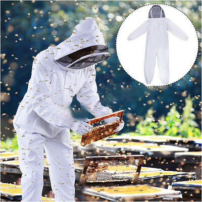 New Professional Cotton Full Body Beekeeping Bee Keeping Suit w/Veil Hood