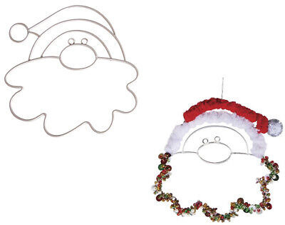 Set of 2 Wire Father Christmas to Decorate -10cm