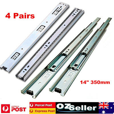 4 Pair Soft-Close Ball Bearing Drawer Slides Full Extension Runners Smooth Glide