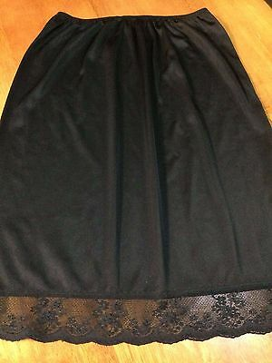 Retro black nylon petticoat Size 14