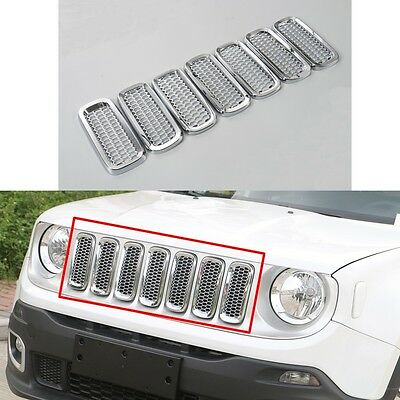 7pcs Chrome Front Mesh Grille Inserts Trim Cover fit for 2015-2018 Jeep Renegade