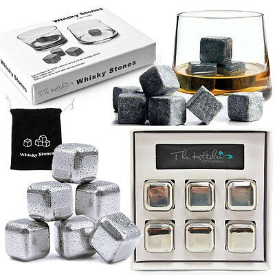 Whiskey Stones - Bar Whisky Chilling Cooling Rocks Reusable Steel Ice Cubes