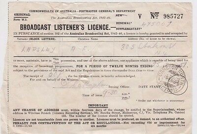 Stamp 1950 CARLTON NORTH Victoria postmark radio broadcasting licence to Lapsley