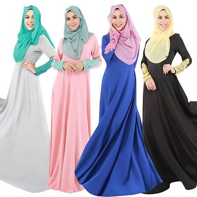Women Kaftan Abaya Muslim Maxi Jilbab Islamic Dress Long Sleeve Clothing Vintage