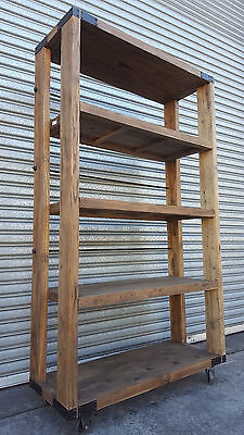 New French Industrial Recycled Vintage Rustic Bookcase Kitchen Shelf (111-402)