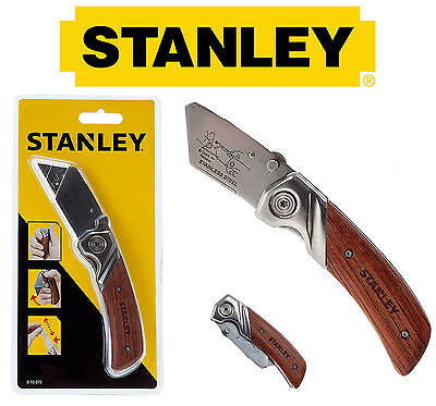 STANLEY Wooden Work Folding Trimming Pocket Utility Lock Knife No Blades, 010073