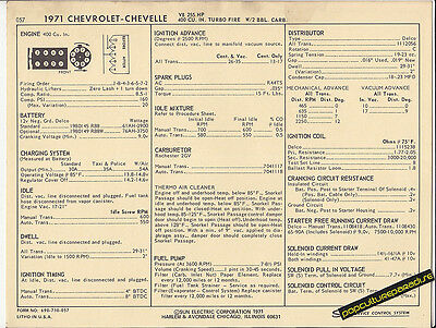 1971 CHEVROLET CHEVELLE 400 ci 255 hp Engine Car SUN ELECTRONIC SPEC SHEET