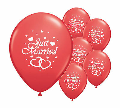 "10 Just Married Red 12"" Helium Quality Pearlised Wedding Balloons (Pa)"
