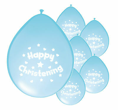 10 x BABY CHRISTENING BLUE BALLOONS  PARTY DECORATIONS BOY CHRISTENING (PA)
