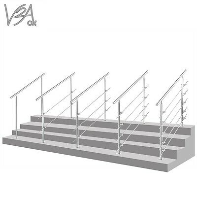 Stainless Steel Landing Balustrade Staircase Railing Indoor / Outdoor V2Aox