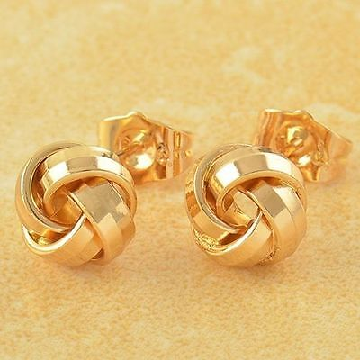 Very Pretty New 9K Solid Yellow Gold Filled Retro Love Knot Stud Post Earrings