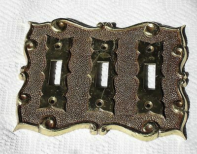 Vintage Heavy Brass Electric Triple Toggle Switch Cover Plate- Made in Portugal