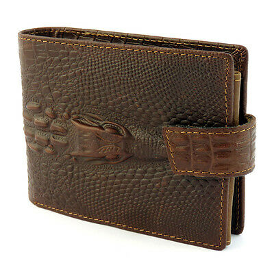 Mens Dragon Luxury Genuine Leather Wallet Credit Card Holder Purse Brown