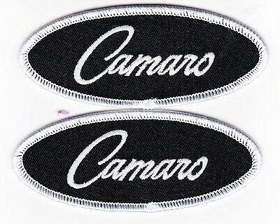 2 Black White 1.5X4 Camaro Sew/iron On Patch Badge Embroidered Chevy Z28 Car V8