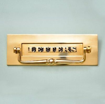 Classic Solid Brass Period 'letters' Letterbox With Clapper (Atc)