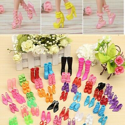 120X Assorted Doll Outfit Dress Fashion High Heel Shoe Boots Sandals For Barbie