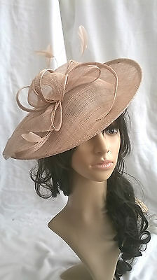 NEW LATTE SINAMAY & FEATHER FASCINATOR HAT.Shaped saucer disc,Wedding.