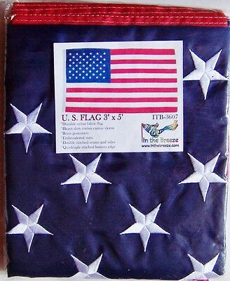 3'x5' Nylon American Flag, Embroidered Stars, Brass Grommets, Extra Stitching
