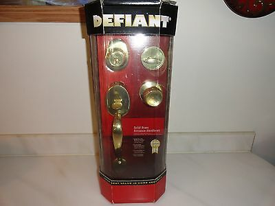 NEW in Box DEFIANT Solid Brass Entrance Handleset