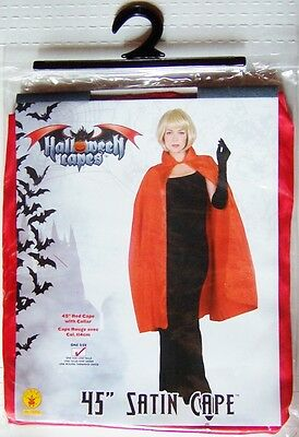 "45"" Red Satin Halloween Adult Costume Cape with Collar (Rubie's #16254)"