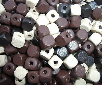20 wood wooden 10mm square cube mix beads cream brown black