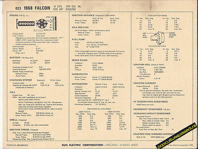 1968 FORD FALCON 6 Cylinder 170 ci 105 hp Engine Car SUN ELECTRONIC SPEC SHEET