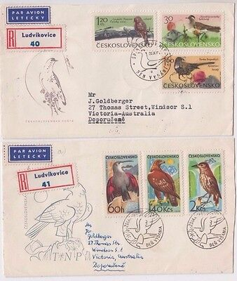 Stamps Czechoslovakia 1955 set of 6 birds on pair covers sent registered airmail