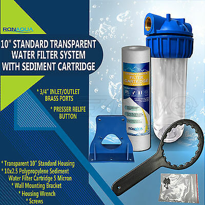 """10"""" Clear Standard Whole House Water Filter System with Sediment Filter"""