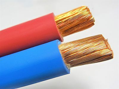 30' Ft 1/0 Awg Welding/battery Cable 15' Red 15' Blue 600V Made In Usa Copper