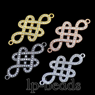 Zircon Gemstones Micro Pave Chinese Knot Connector Charm Beads Bracelet Silver