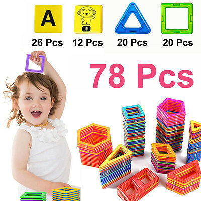78 PCS Magnetic Building Sets Similar Magformers Toys Magspace alphabet animals