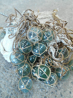 Vintage Glass Fishing 17 Floats in Bunch with Rope and Medium Net Japanese #503