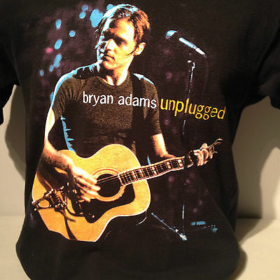 BRYAN ADAMS 1998 Canadian Unplugged Acoustic Rock Concert Tourt T Shirt Black L