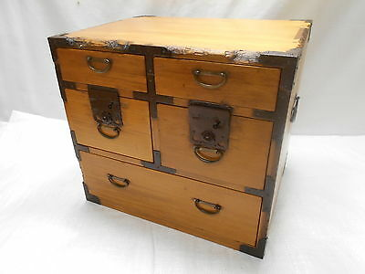Antique Sugi Wood Tansu Box Small Japanese Drawers Circa 1890s #546
