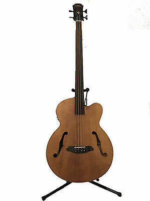 NEW  Aria Fretless Acoustic / Electric Bass Flamed Nato Wood