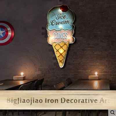 Retro Style Ice Cream Cone Signs LED Light Signboard Cafe Bar Wall Decoration