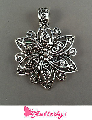 Large Flower Silver Plated Filigree Pendant, 65mm, jewellery making craft