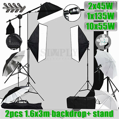 Photography Studio Softbox Umbrella Lighting Strobe Light Stand Backdrop Kit Set