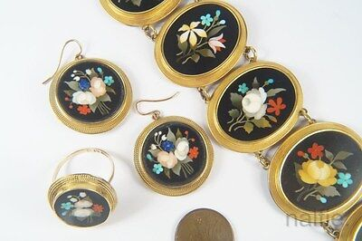 ANTIQUE 18K GOLD FLORAL PIETRA DURA MOSAIC BRACELET EARRINGS & RING SUITE c1870