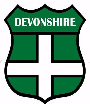 2 x Devon Devonshire Flag Decal Car Motorbike Laptop Window Sticker - Free P & P