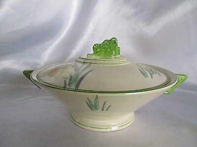 BURLEIGH WARE -  Daffodil - Art Deco 4813 - COVERED SERVING BOWL with LID - 1219