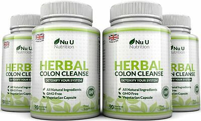 Herbal Colon Cleanse 4 Bottles x 90 Capsules 11 Ingredients Detox Bloating