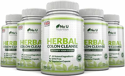 Herbal Colon Cleanse 5 Bottles x 90 Capsules 11 Ingredients Detox Bloating